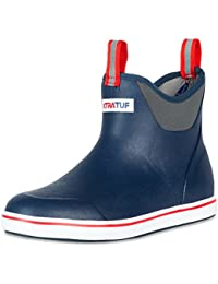 "22733-NVY-110 Performance Series 6"" Men's Full Rubber Ankle Deck Boots, Navy & Red (22733)"