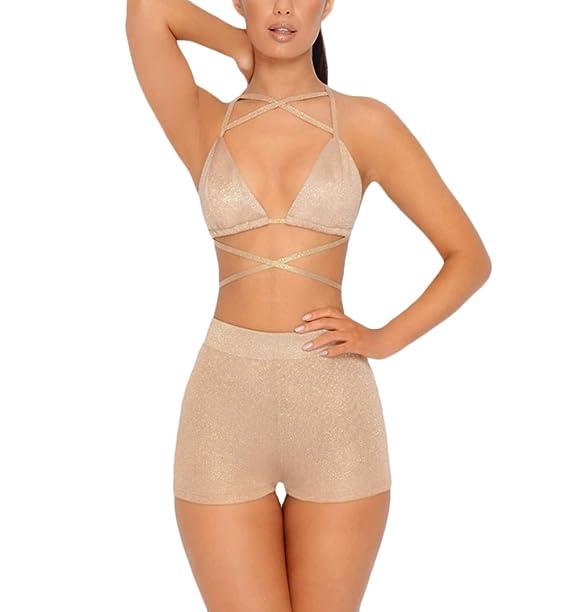 Battercake Mujer Conjunto Sujetadores + Bragas 2 Piezas Elegantes Atractivo Color Sólido Bandage Casuales Mujeres Sin Espalda Lenceria + Panties: Amazon.es: ...