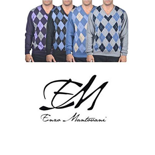 Italian Turtleneck Sweater (Enzo Mantovani - Argyle Italian Made Men's Fine Gauge Merino V-Neck Sweater (Small, Argyle - Blue - Grey))
