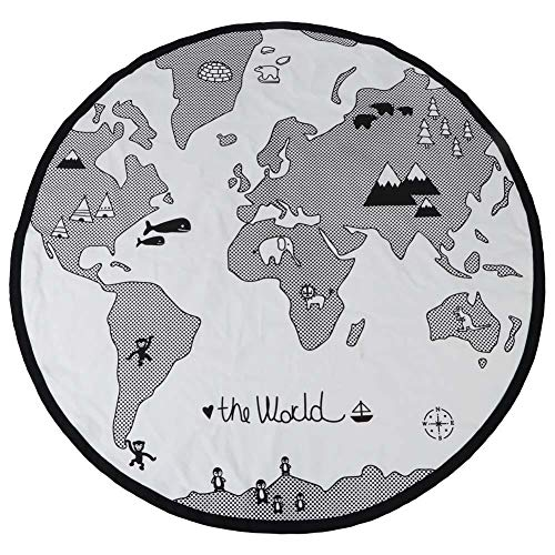 Baby Game Blanket, 135cm Baby Round Adventure World Map Pattern Circular Kid Game Mat Thicken Baby Crawling Play Mat -
