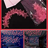 Best Garden Tools 100 PCs Creative 3D Luminous Stars Glow in Dark Removable Decor For Art Mural Baby Nursery Room Garden Party Decoration (PINK)