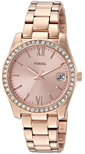 Fossil Women's 'Scarlette' Quartz Stainless Steel Casual Watch, Color:Rose Gold-Toned (Model: ES4318)