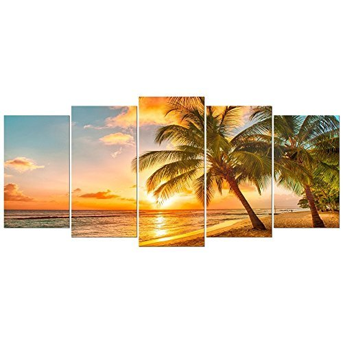 5 Piece Cozy Seascape Wall Art Sunset Beach Palm Tree Canvas Art ...
