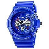 SKMEI Kids Students Sport Watch Analog/Digital Water Resist Dual Time Multifunction Alarm Led Wristwatch - Blue