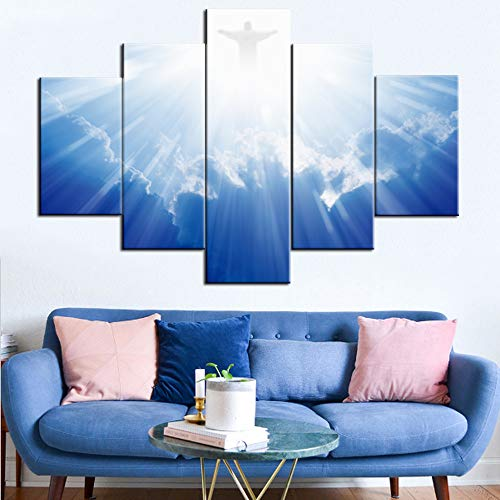 - TUMOVO Pictures of Jesus Christ Print on Canvas Christianity Paintings 5 Pcs/Multi Panel Wall Art Home Decor for Living Room Artwork Giclee,Wooden Framed Ready to Hang Posters and Prints(60''Wx40''H)