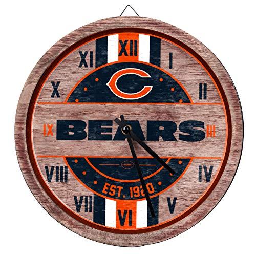 FOCO NFL Chicago Bears Team Logo Wood Barrel Wall ClockTeam Logo Wood Barrel Wall Clock, Team Color, One Size Chicago Bears Nfl Wall