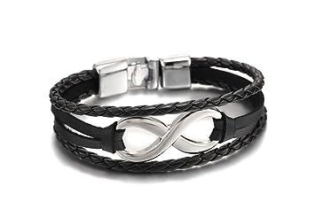 Handgearbeitetes geflochtenes Lederarmband Verschluss Armband Herren 21 cm