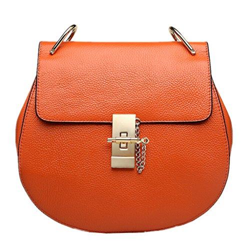 KAMIERFA Petit Sac Orange en Cuir pour Femme avec Bandoulière à Chaînette
