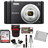 Sony Cyber-shot DSC-W800 DSCW800/B DSCW800B Point & Shoot Digital Still Camera (Black) + Camera Case + Sony 16GB Memory Card + All in One High Speed Card Reader + Rechargeable Battery + Accessory Kit from Sony