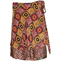 Mogul Women's Vintage Wrap Skirt Reversible Mini Silk Sari Skirts