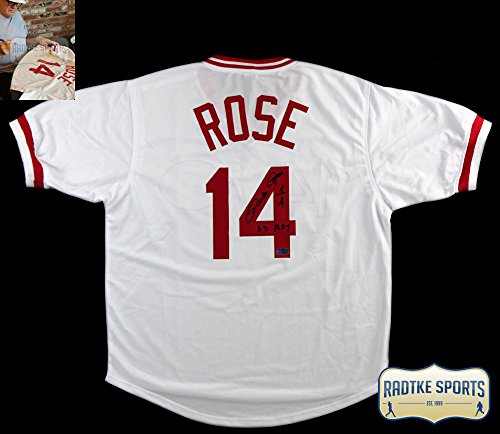 Pete Rose Autographed/Signed Cincinnati White Custom Jersey with