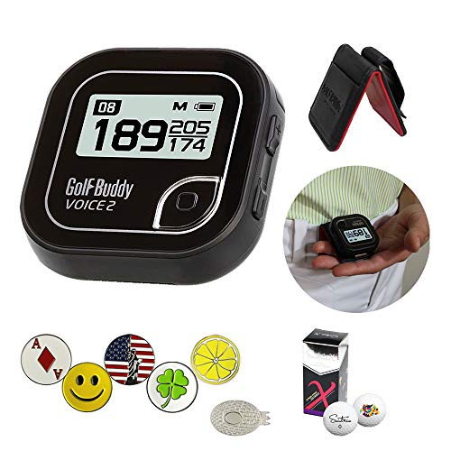 - GolfBuddy Voice 2 Golf GPS/Rangefinder Bundle with 1 Magnetic Hat Clip and 5 Ball Markers and Saintnine 2 Ball Sleeve and Belt Clip (Black)