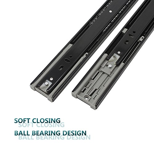 24 Inch Full Extension Ball Bearing Soft Close Slides 80 LB Capacity Kitchen Cabinet Drawer Slides Black Finish, Rear Mount Bracket and Screws are Included (24 Inch 10 Pair) by KNOBWELL (Image #4)