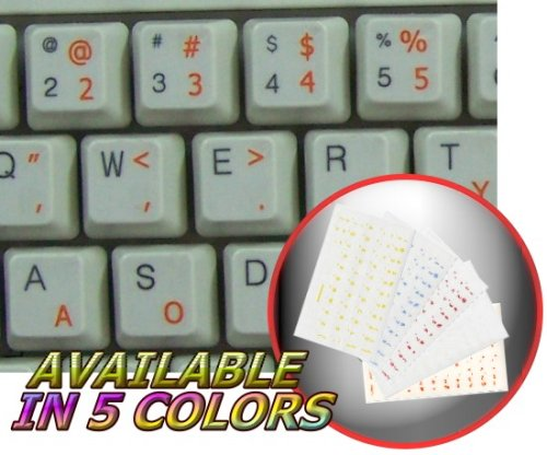 DVORAK SIMPLIFIED KEYBOARD STICKERS WITH ORANGE LETTERING ON TRANSPARENT BACKGROUND FOR DESKTOP, LAPTOP AND NOTEBOOK