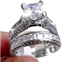 HIRIRI Hot Sale Fashion Jewelry 2-in-1 Women's Vintage White Diamond Silver Engagement Wedding Band Ring Set (7, Silver)