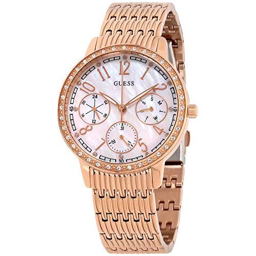 Guess Lattice Mother Of Pearl Dial Stainless Steel Ladies Watch W1086L2 ()