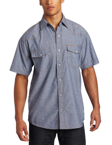 ort Sleeve Western Snap Pre-Washed Chambray Shirt, Blue Chambray, Large-Regular (Short Sleeve Pearl Snap)