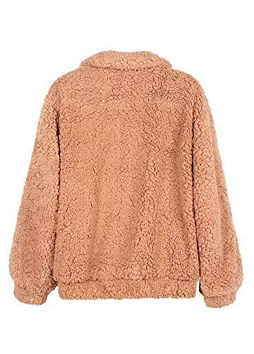 Outwear Polar Khaki Cuello De Vuelto Para Abrigo Casual Mujeres Forro Suelta Con Romacci Chaqueta Lana Cremallera YFg6ZFUq