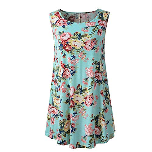 s for Women Clearance Sale Fashion Casual Solid Floral 0-Neck Sleeveless Tunic Swing Flare Tank Vest ()