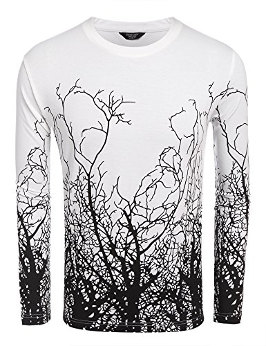 Jinidu Men's Fashion Long Sleeve Shirt Tree Shadow Printed Graphic Short Sleeve T-Shirt - State Shadow Print Jersey