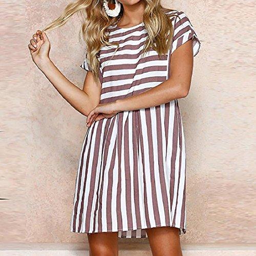 59792d17e6c7 PAOLIAN Kleider Damen Gestreift Sommer Strand Minikleid A-Linie Swing  Sommerkleid Beiläufig Tunika Kurzarm T ...