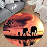 Nalahome Modern Flannel Microfiber Non-Slip Machine Washable Round Area Rug-phants Decor Elephant Silhouettes By A River Africa Animals Wildlife Adventure Landscape area rugs Home Decor-Round 71''