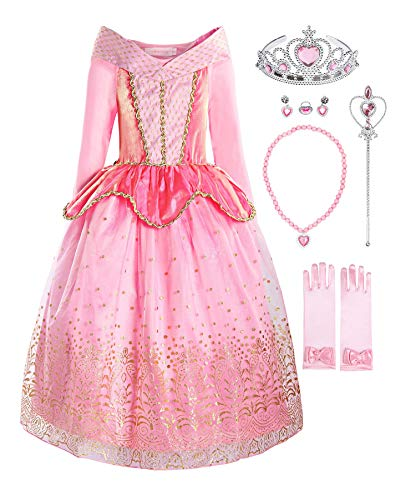 ReliBeauty Girls Princess Dress up Aurora Costume with Accessories, 5, Pink ()