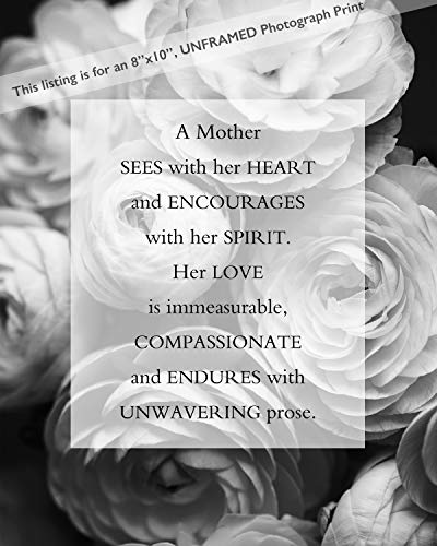 Mothers Gift for Mom featuring Original Poem and Black and White Flower Photograph Wall Art