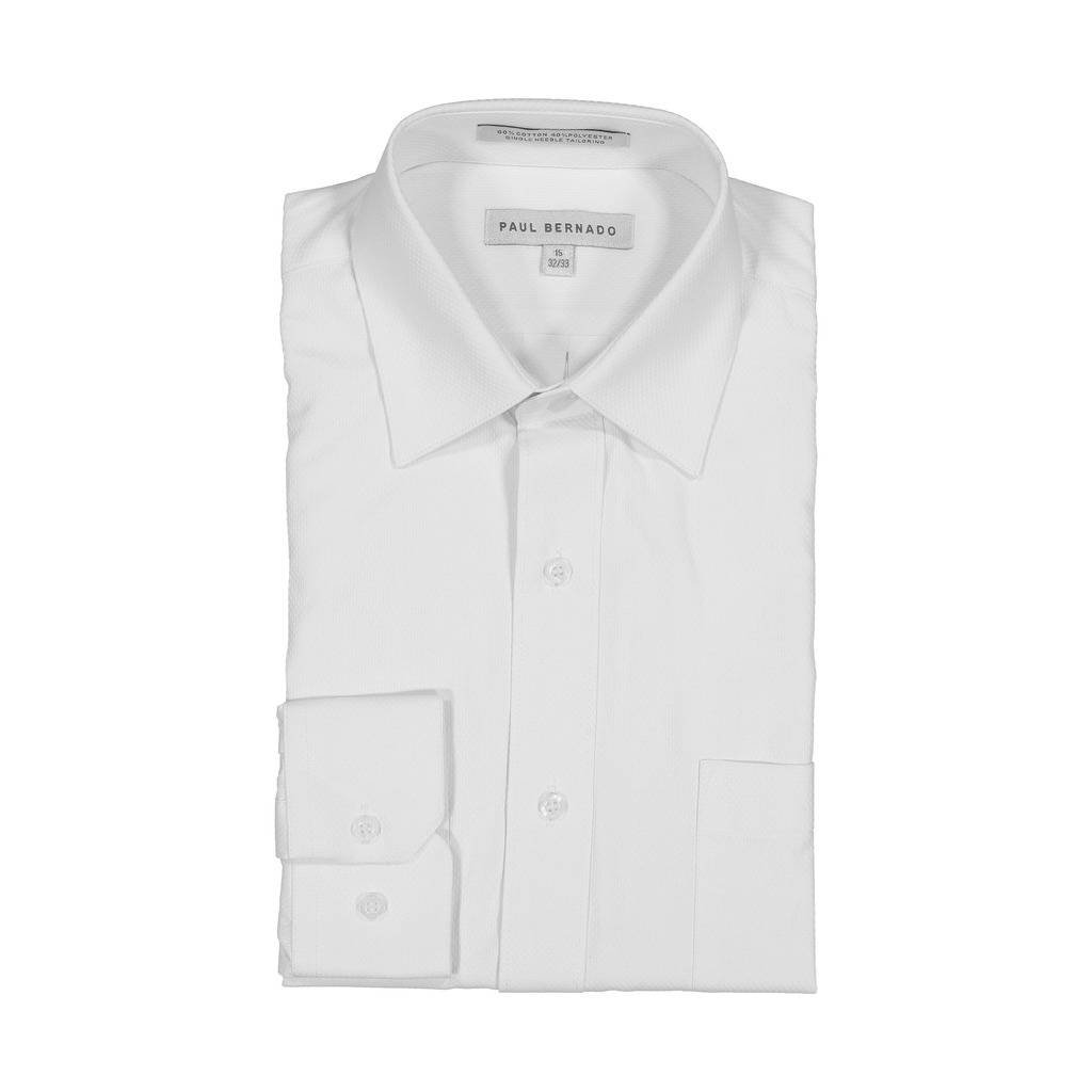 AKA Boys Wrinkle Free White On White Long Sleeve Dress Shirt Daimond Piquet 14