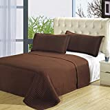 Chocolate 5PC Coverlet Set, Checkered Quilted Bedspread, Wrinkle Free, Includes Bedspread & Sheets, Twin Extra Long Size