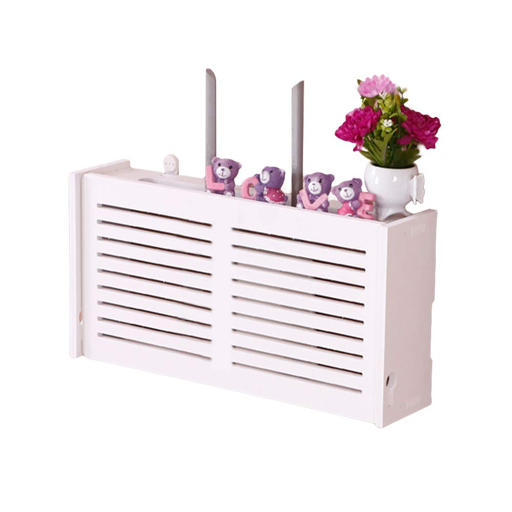 yazi WiFi Router Cable Power Plug Wire Storage Boxes Wall Mount Floating Shelf Storage Rack Big Window-Shades