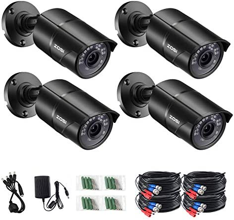 ZOSI 4PCS 1 3 Color CMOS 960H 1000TVL Wide Angle 3.6mm Lens Outdoor Indoor IR Security Surveillance CCTV Bullet Cameras Kit with 65ft Cables – Aluminum Casing,100ft 30m Night Vision