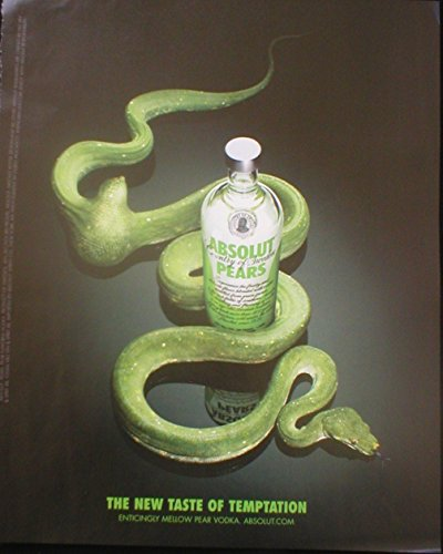 Paper PRINT AD For 2007 Absolut Vodka Absolut Pears Snake Temptation