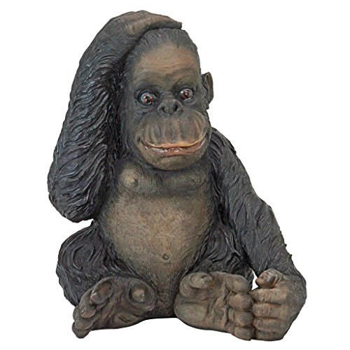 Design Toscano JQ3551 Curly The Chimpanzee of The Jungle Funny Monkey Statue, One Size, Full Color ()