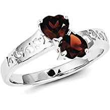 ICE CARATS 925 Sterling Silver Red Garnet Heart Band Ring S/love Gemstone Fine Jewelry Gift Valentine Day Set For Women Heart