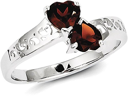 Designer Garnet Jewelry Set (ICE CARATS 925 Sterling Silver Red Garnet Heart Band Ring Size 6.00 S/love Gemstone Fine Jewelry Gift Valentine Day Set For Women Heart)