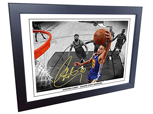 12x8 A4 Signed Stephen Curry Golden State Warriors Autographed Basketball Photo Photograph Picture Frame Gift by Kicks