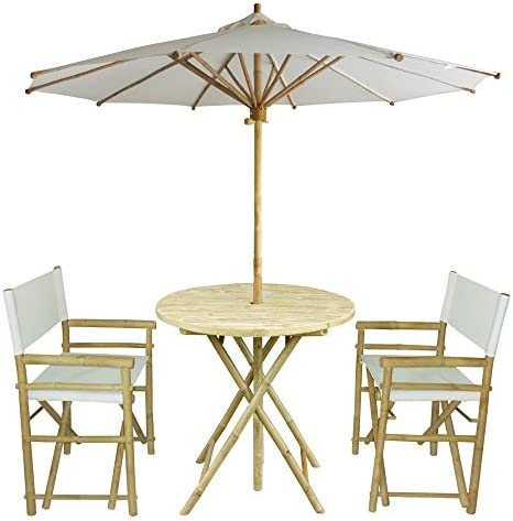 Zew 4-Piece Bamboo Outdoor Backyard Patio Set with Round Table, 2 Folding Canvas Chairs and Umbrella, White