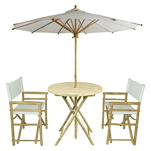 Zew 4-Piece Bamboo Outdoor Backyard Patio Set with Round Table, 2 Folding Canvas Chairs and Umbrella, White by Zew