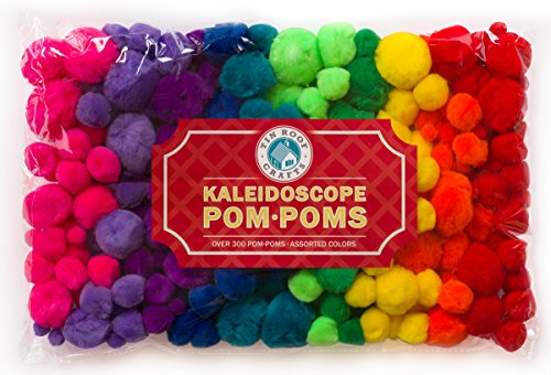 Pompoms for Crafts and Hobby Supplies, Over 300 Fuzzies in Bright Hot Kaleidoscope Colors BONUS Googly eye package