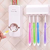 Leeonzi Plastic Toothpaste Dispenser Automatic with 5 Toothbrush Holder with Sticky Suction Pad (White)