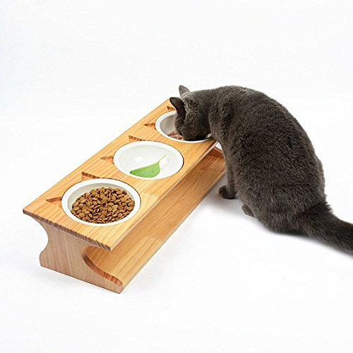 Smith Chu Premium Elevated Pet Bowls, Raised Dog Cat Feeder Solid Bamboo Stand with Ceramic Food Feeding Bowl - Cute Kitty Bowl for Cats and Puppy (Cat Raised Feeder)