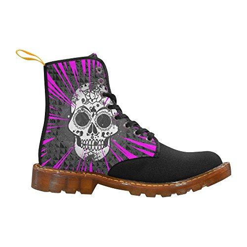 Leinterest Skull E Pink Martin Boots Moda Scarpe Da Donna