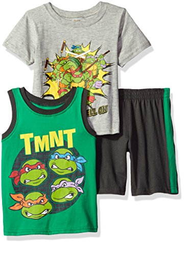 Nickelodeon Little Boys' 3 Piece Teenage Mutant Ninja Turtles Tee, Tank and Short Set, Grey, 4 (Tmnt Outfit)
