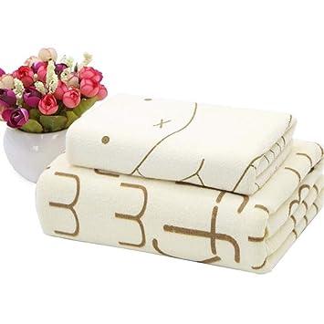 BAOLIJIN Bath Towels Set Dibujos Animados niños algodón Absorbente Toalla de Playa Conejo patrón Toalla de