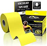 Kinesiology Tape (2 Pack or 1 Pack) Physix Gear Sport, 5cm x 5m Roll Uncut, Best Waterproof Muscle Support Adhesive, Physio Therapeutic Aid, Free 82pg E-Guide - YELLOW 1 PACK
