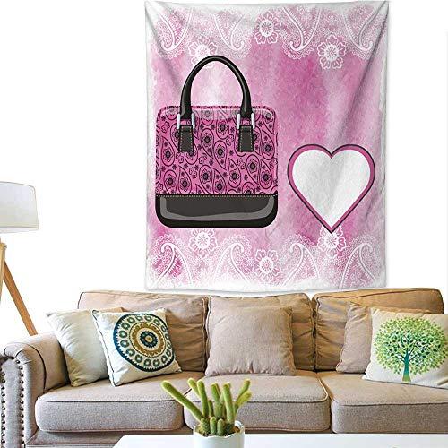 BlountDecor Colorful Tapestry Handbag with Paisley Pattern Watercolor Pink Splash 60W x 80L INCH