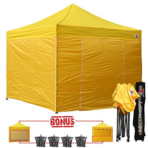 (23+ colors)AbcCanopy Commercial 10x10 Ez Pop up Canopy, Party Tent, Fair Gazebo with 6 Zipped End Sidewalls and Roller Bag Bonus 4x Weight Bag