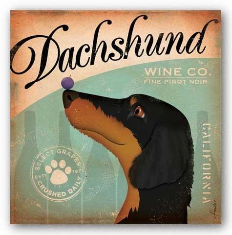 Dachshund Wine Co. by Stephen Fowler Dog Art Print Poster, 12x12