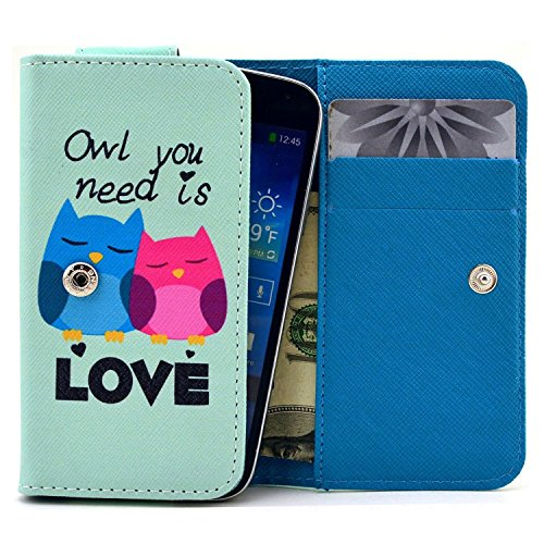 RCA M1 Case,Universal Wallet Clutch Bag Carrying Fold Leather Smartphone Case with Buckle Card Slot for RCA M1 4.0 Inch-Baby Owls Love Style